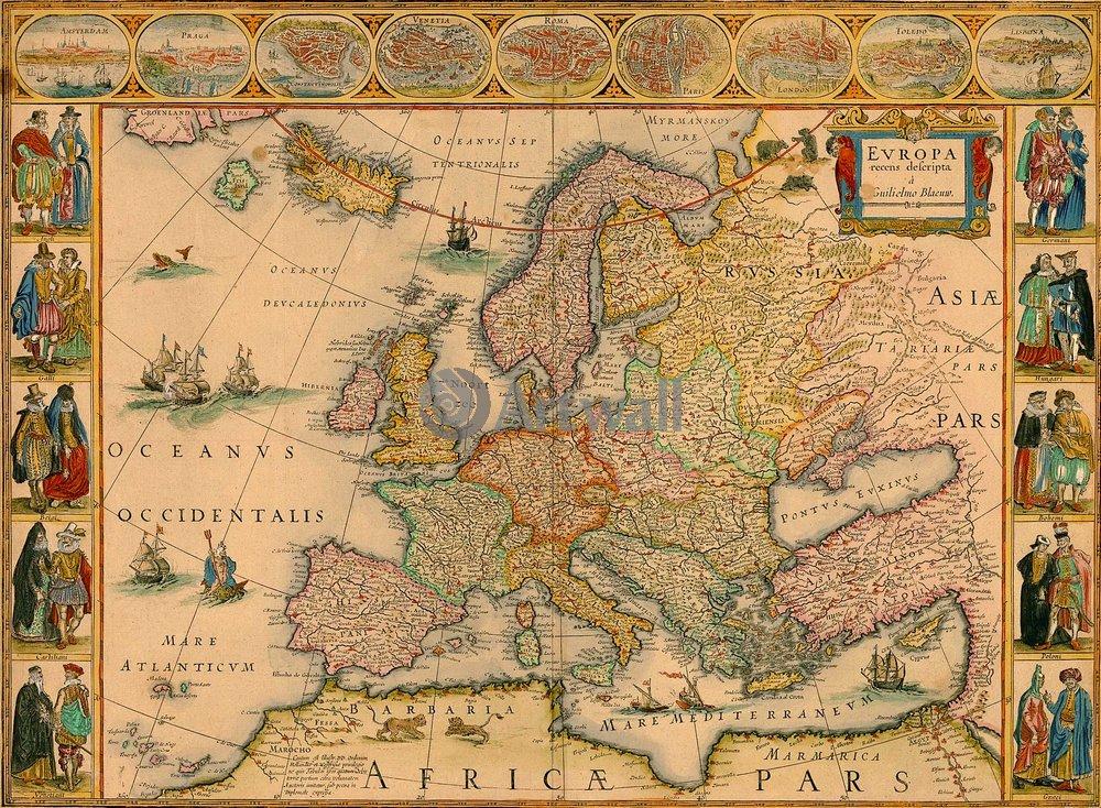 Карты старинных городов, картина ЕвропаКарты старинных городов<br>Репродукция на холсте или бумаге. Любого нужного вам размера. В раме или без. Подвес в комплекте. Трехслойная надежная упаковка. Доставим в любую точку России. Вам осталось только повесить картину на стену!<br>