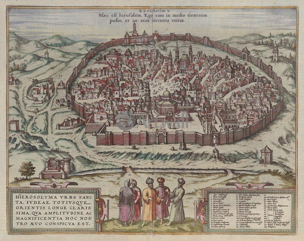 Карты старинных городов, картина ИерусалимКарты старинных городов<br>Репродукция на холсте или бумаге. Любого нужного вам размера. В раме или без. Подвес в комплекте. Трехслойная надежная упаковка. Доставим в любую точку России. Вам осталось только повесить картину на стену!<br>