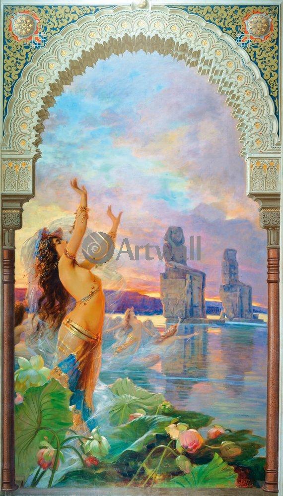 Искусство, картина Галлелли Массимилиано «Женщины, выходящие из вод Нила», 20x35 см, на бумагеОриентализм<br>Постер на холсте или бумаге. Любого нужного вам размера. В раме или без. Подвес в комплекте. Трехслойная надежная упаковка. Доставим в любую точку России. Вам осталось только повесить картину на стену!<br>