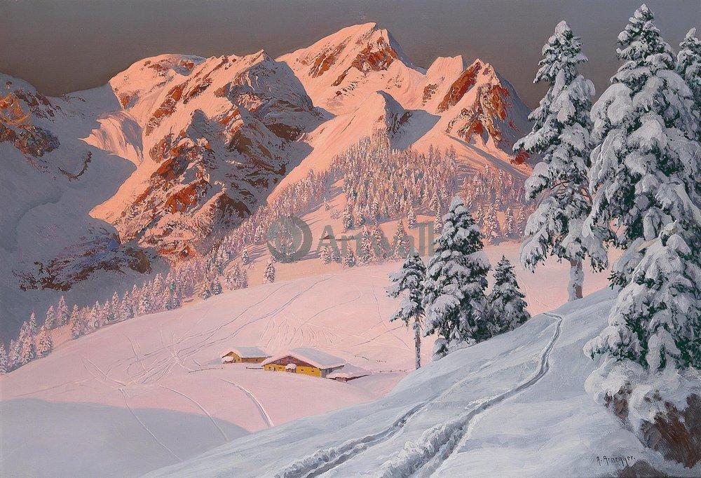 Пейзаж зимний Арнеггер Алоис «Зима в горах»Пейзаж зимний<br>Репродукция на холсте или бумаге. Любого нужного вам размера. В раме или без. Подвес в комплекте. Трехслойная надежная упаковка. Доставим в любую точку России. Вам осталось только повесить картину на стену!<br>