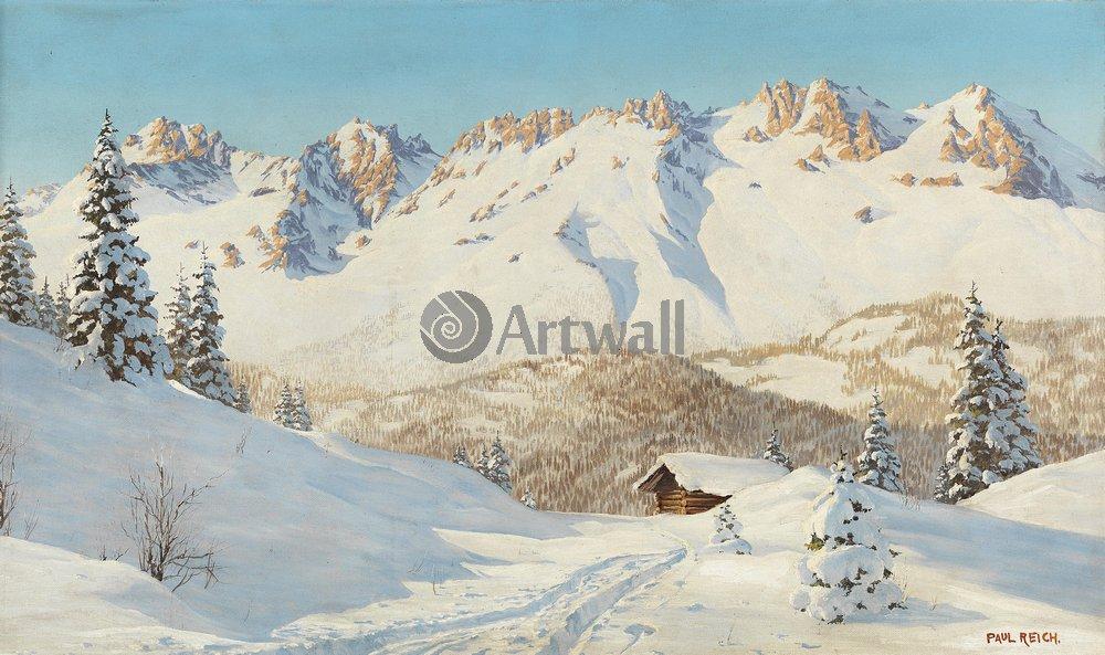 Рейх Рауль «Зима в горах», 34x20 см, на бумагеПейзаж зимний<br>Постер на холсте или бумаге. Любого нужного вам размера. В раме или без. Подвес в комплекте. Трехслойная надежная упаковка. Доставим в любую точку России. Вам осталось только повесить картину на стену!<br>