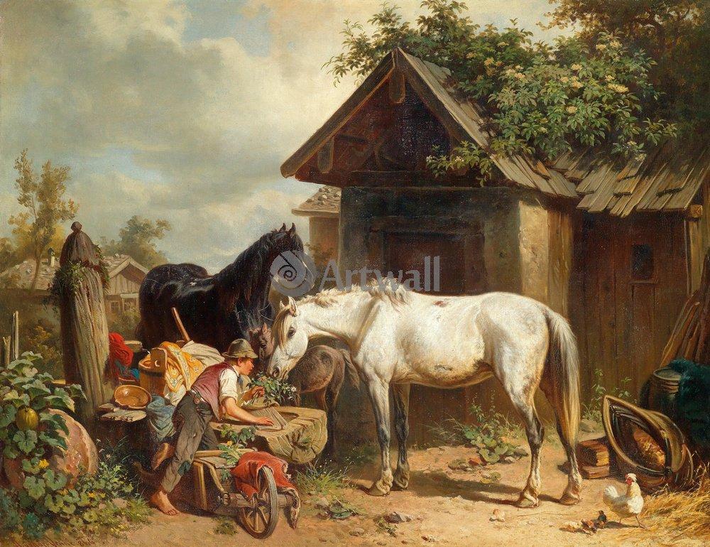 Лошади и всадники, картина Ван Венне Адольф «Лошади в крестьянской усадьбе»Лошади и всадники<br>Репродукция на холсте или бумаге. Любого нужного вам размера. В раме или без. Подвес в комплекте. Трехслойная надежная упаковка. Доставим в любую точку России. Вам осталось только повесить картину на стену!<br>