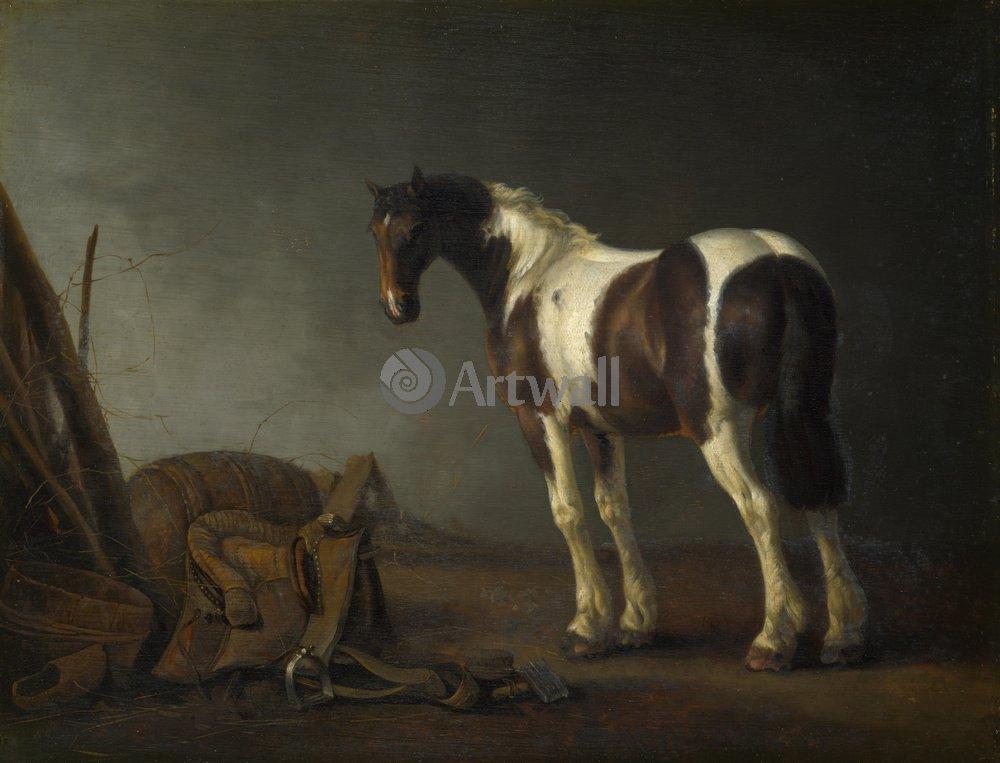Лошади и всадники, картина Ван Кэлрает Абрахам «Лошадь около седла»Лошади и всадники<br>Репродукция на холсте или бумаге. Любого нужного вам размера. В раме или без. Подвес в комплекте. Трехслойная надежная упаковка. Доставим в любую точку России. Вам осталось только повесить картину на стену!<br>