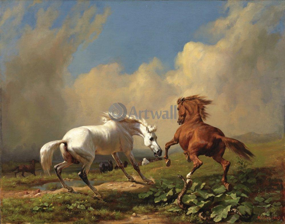 Лошади и всадники, картина Коллер Рудольф «Дерущиеся лошади»Лошади и всадники<br>Репродукция на холсте или бумаге. Любого нужного вам размера. В раме или без. Подвес в комплекте. Трехслойная надежная упаковка. Доставим в любую точку России. Вам осталось только повесить картину на стену!<br>