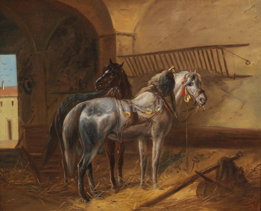 Лошади и всадники, картина Кюблер Людвиг «Две лошади в конюшне»Лошади и всадники<br>Репродукция на холсте или бумаге. Любого нужного вам размера. В раме или без. Подвес в комплекте. Трехслойная надежная упаковка. Доставим в любую точку России. Вам осталось только повесить картину на стену!<br>