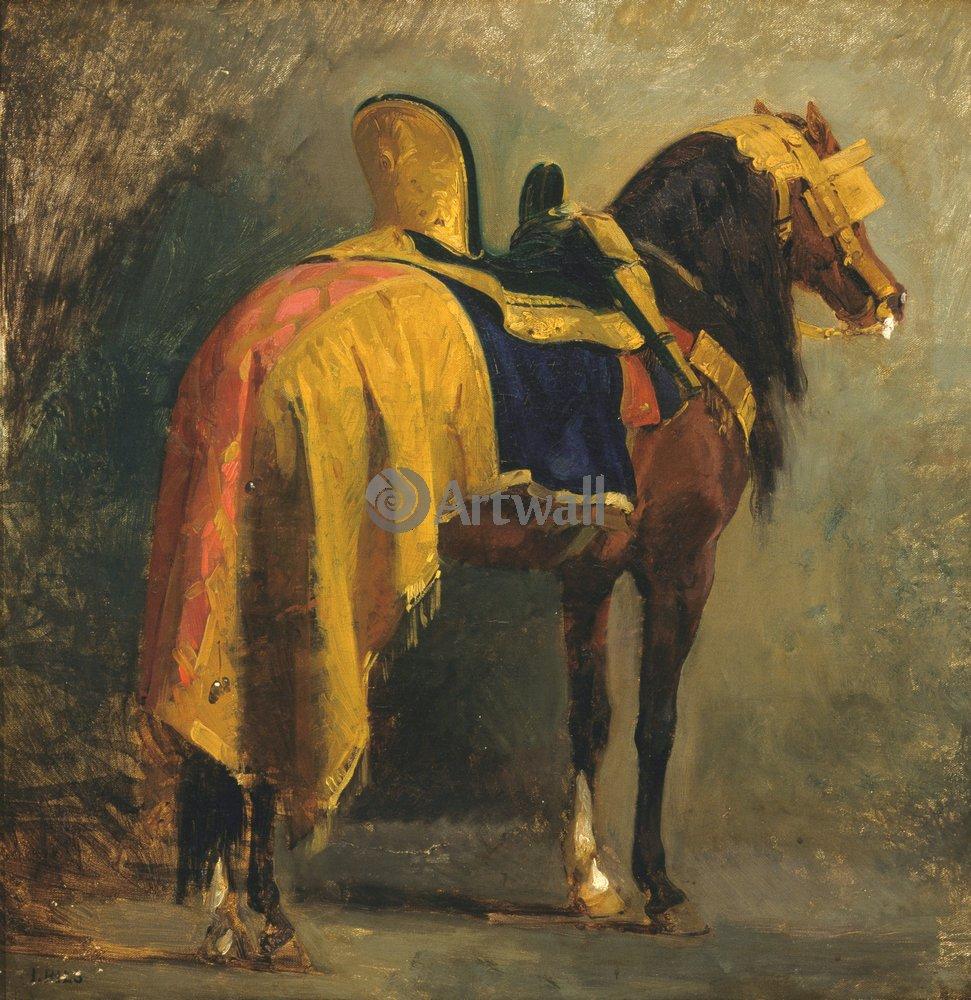 Лошади и всадники, картина Пильс Асейдора «Снаряженная лошадь»Лошади и всадники<br>Репродукция на холсте или бумаге. Любого нужного вам размера. В раме или без. Подвес в комплекте. Трехслойная надежная упаковка. Доставим в любую точку России. Вам осталось только повесить картину на стену!<br>