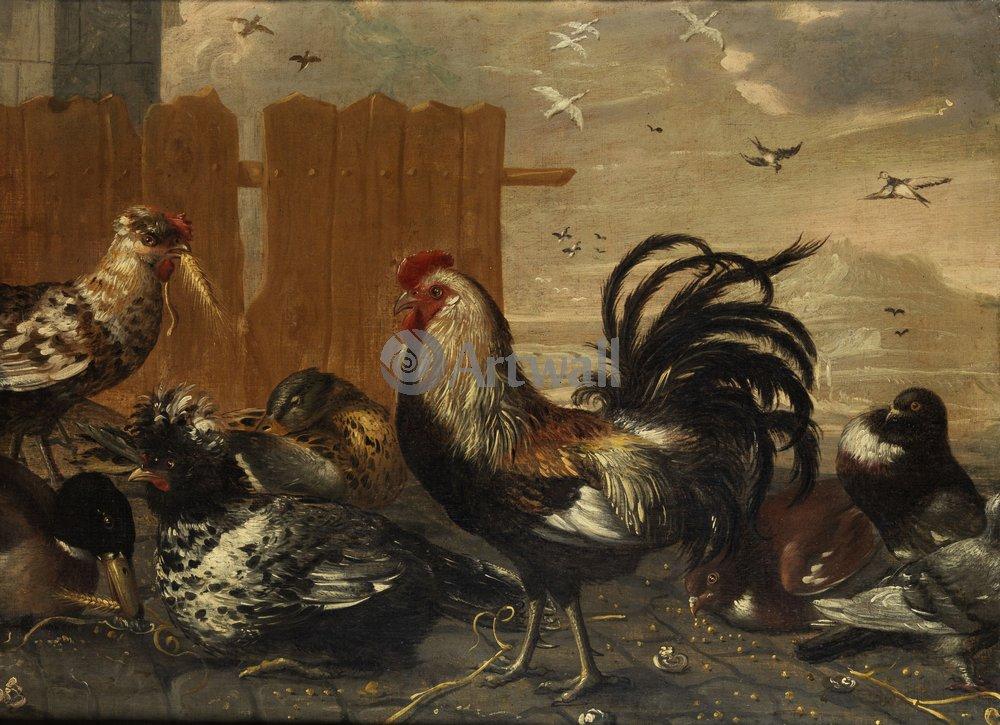 Петухи и курицы, картина Фламандский художник 17 века «Петух и курицы»Петухи и курицы<br>Репродукция на холсте или бумаге. Любого нужного вам размера. В раме или без. Подвес в комплекте. Трехслойная надежная упаковка. Доставим в любую точку России. Вам осталось только повесить картину на стену!<br>