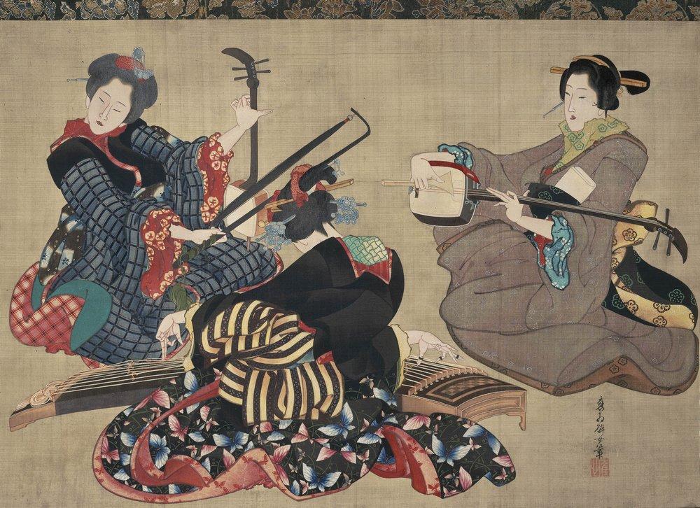 Музыка в живописи и графике, картина Хокусаи «Три женщины, играющие на музыкальных интсрументах»Музыка в живописи и графике<br>Репродукция на холсте или бумаге. Любого нужного вам размера. В раме или без. Подвес в комплекте. Трехслойная надежная упаковка. Доставим в любую точку России. Вам осталось только повесить картину на стену!<br>