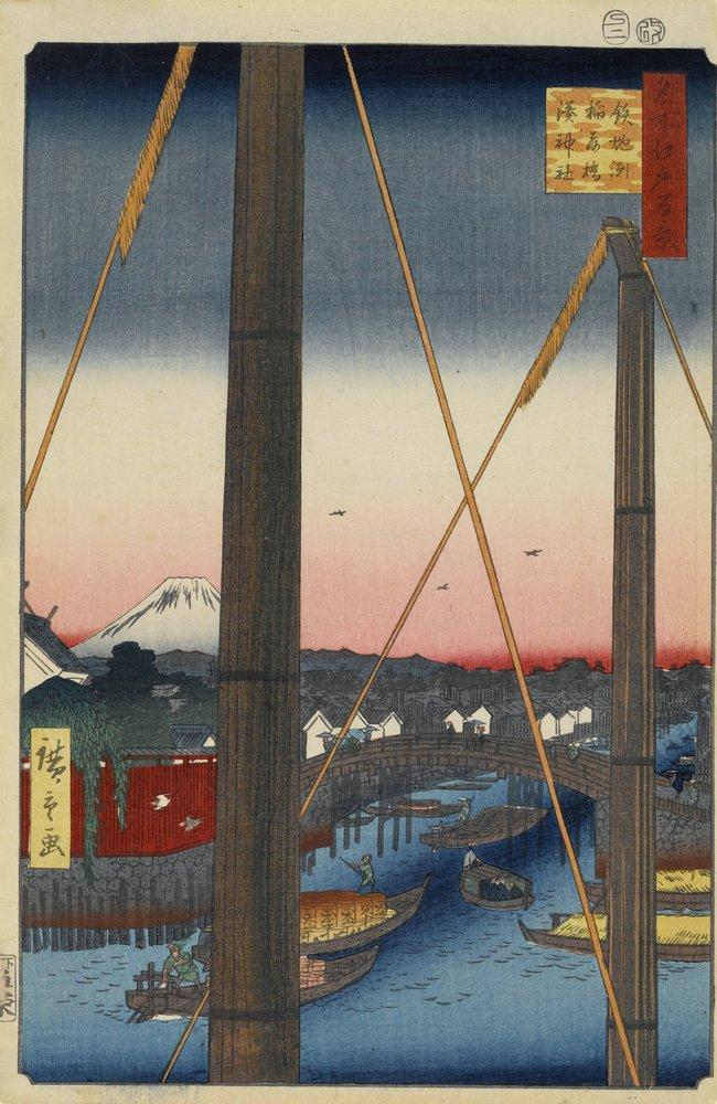 Японская гравюра Хиросигэ Утагава - 100 видов Эдо, 77. Мост Инари-баси в Тэпподзу, святилище Минато-дзиндзяХиросигэ Утагава - 100 видов Эдо<br>Репродукция на холсте или бумаге. Любого нужного вам размера. В раме или без. Подвес в комплекте. Трехслойная надежная упаковка. Доставим в любую точку России. Вам осталось только повесить картину на стену!<br>