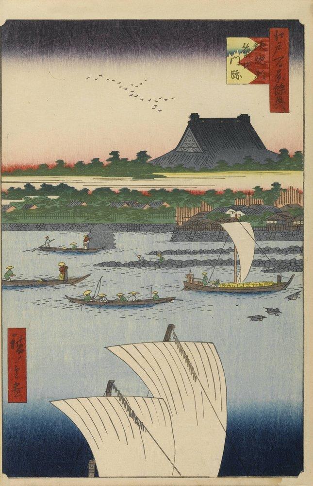 Японская гравюра Хиросигэ Утагава - 100 видов Эдо, 78. Монастырь Ниси-Хонгадзи в Цукидзимансэки на отмели Тэпподзу, 20x31 см, на бумагеХиросигэ Утагава - 100 видов Эдо<br>Постер на холсте или бумаге. Любого нужного вам размера. В раме или без. Подвес в комплекте. Трехслойная надежная упаковка. Доставим в любую точку России. Вам осталось только повесить картину на стену!<br>