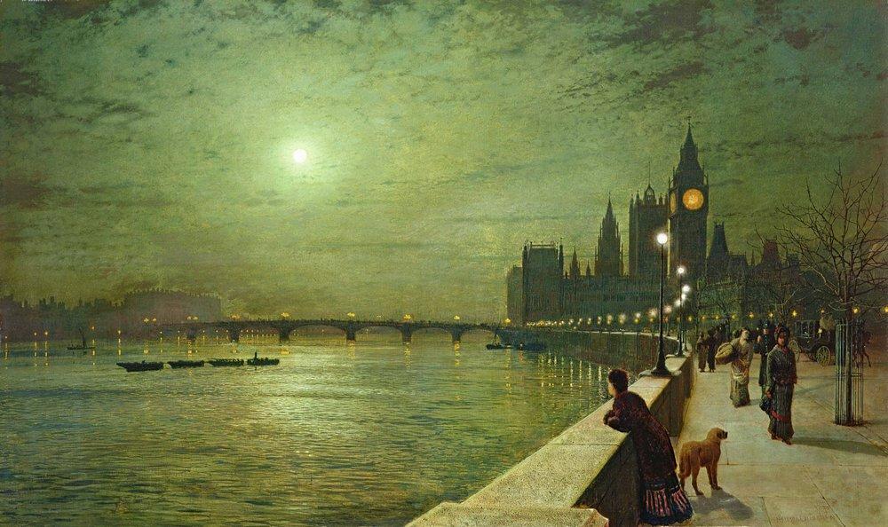 Лондон - старинная живопись и графика, картина Гримшоу Джон «Лунная ночь над Темзой»Лондон - старинная живопись и графика<br>Репродукция на холсте или бумаге. Любого нужного вам размера. В раме или без. Подвес в комплекте. Трехслойная надежная упаковка. Доставим в любую точку России. Вам осталось только повесить картину на стену!<br>