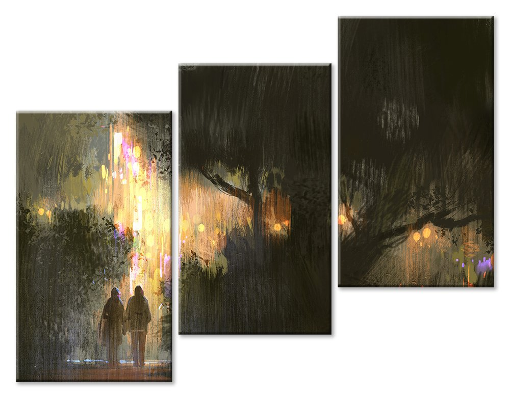 Модульная картина «Двое под дождем»Любовь<br>Модульная картина на натуральном холсте и деревянном подрамнике. Подвес в комплекте. Трехслойная надежная упаковка. Доставим в любую точку России. Вам осталось только повесить картину на стену!<br>