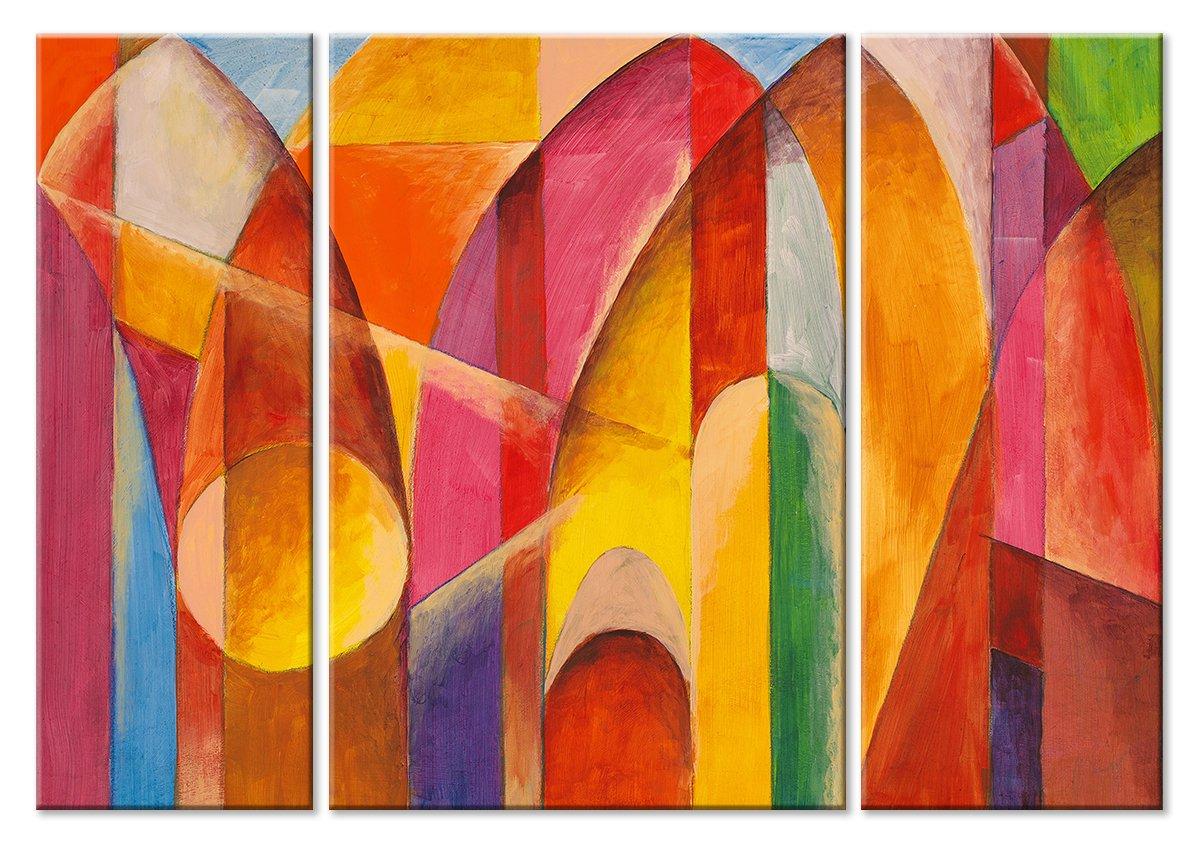 Модульная картина «Солнечный город»Абстракция<br>Модульная картина на натуральном холсте и деревянном подрамнике. Подвес в комплекте. Трехслойная надежная упаковка. Доставим в любую точку России. Вам осталось только повесить картину на стену!<br>