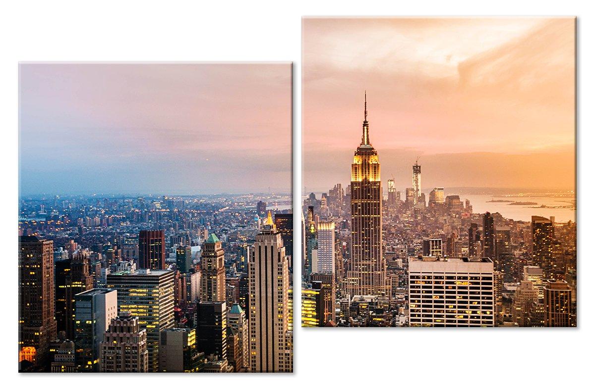 Модульная картина «Нью-Йорк на закате»Города<br>Модульная картина на натуральном холсте и деревянном подрамнике. Подвес в комплекте. Трехслойная надежная упаковка. Доставим в любую точку России. Вам осталось только повесить картину на стену!<br>