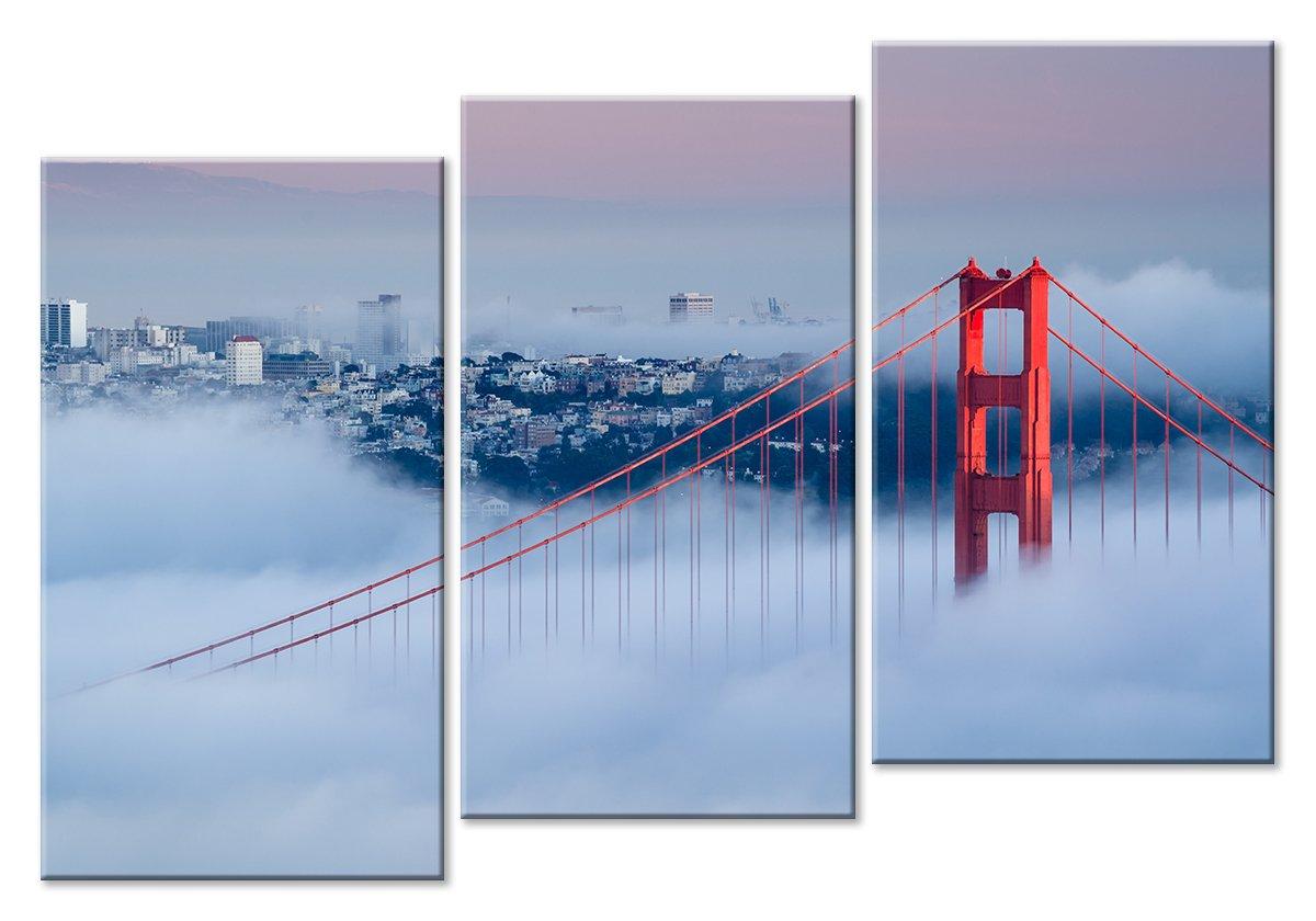 Модульная картина «Мост Золотые ворота в тумане»Города<br>Модульная картина на натуральном холсте и деревянном подрамнике. Подвес в комплекте. Трехслойная надежная упаковка. Доставим в любую точку России. Вам осталось только повесить картину на стену!<br>