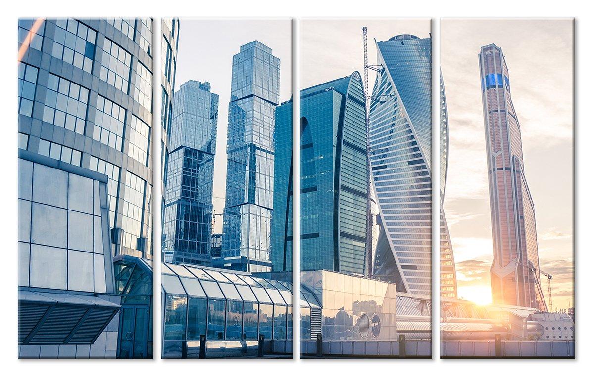 Модульная картина «Москва-Сити»Города<br>Модульная картина на натуральном холсте и деревянном подрамнике. Подвес в комплекте. Трехслойная надежная упаковка. Доставим в любую точку России. Вам осталось только повесить картину на стену!<br>