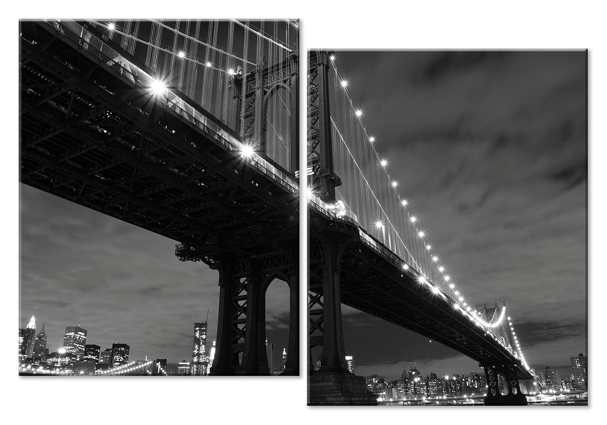 Модульная картина «Ночью под мостом»Города<br>Модульная картина на натуральном холсте и деревянном подрамнике. Подвес в комплекте. Трехслойная надежная упаковка. Доставим в любую точку России. Вам осталось только повесить картину на стену!<br>