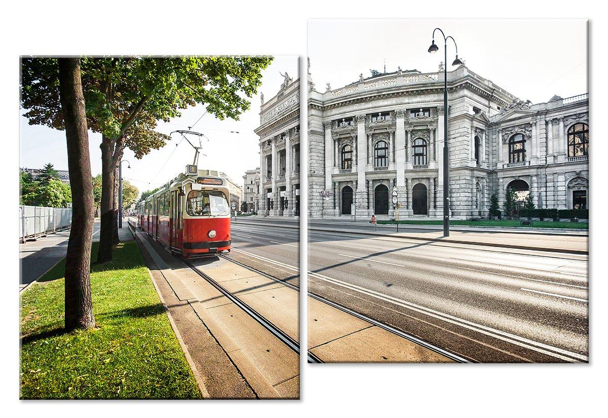 Модульная картина «Красный трамвай»Города<br>Модульная картина на натуральном холсте и деревянном подрамнике. Подвес в комплекте. Трехслойная надежная упаковка. Доставим в любую точку России. Вам осталось только повесить картину на стену!<br>