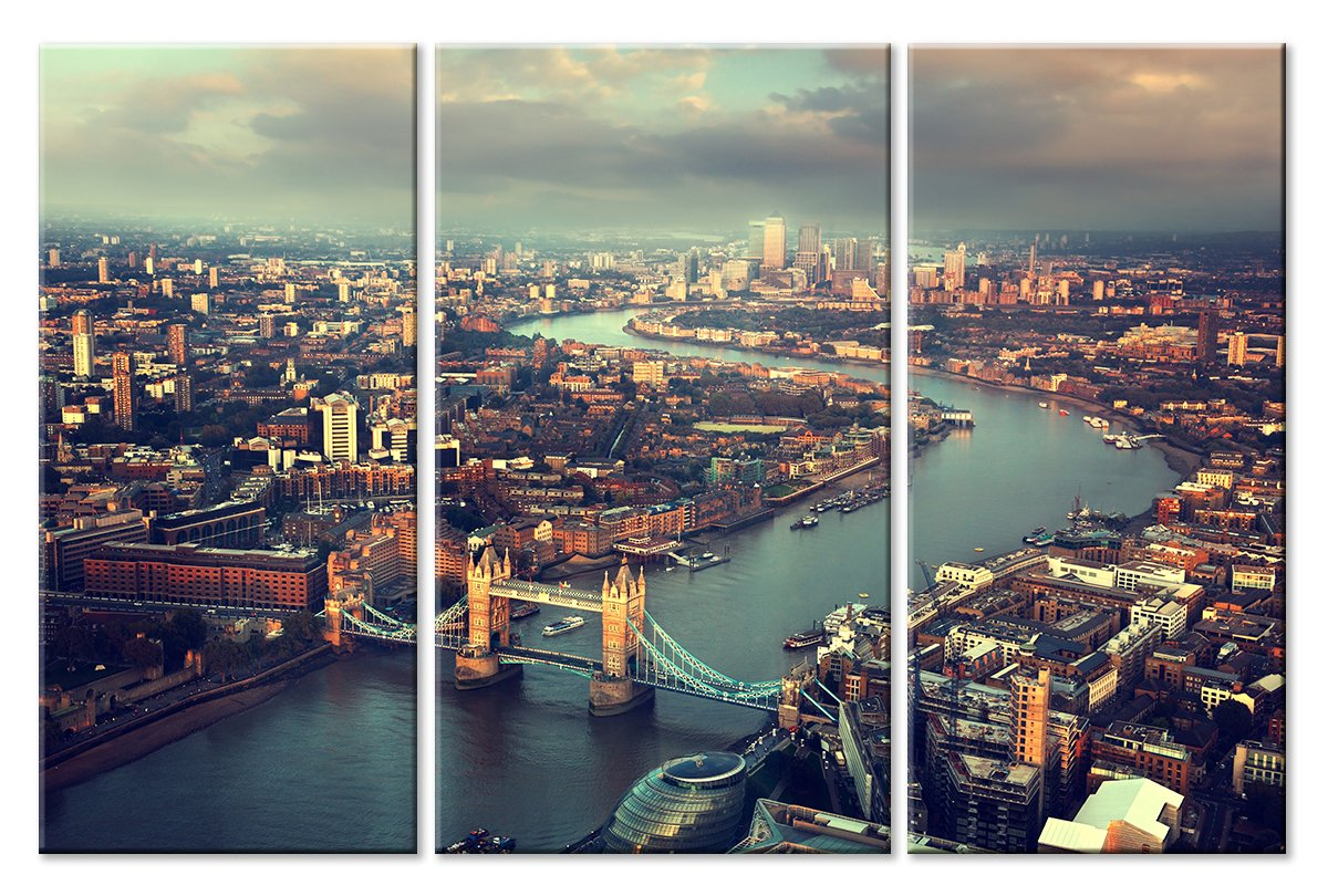 Модульная картина «Лондон с высоты птичьего полета»Города<br>Модульная картина на натуральном холсте и деревянном подрамнике. Подвес в комплекте. Трехслойная надежная упаковка. Доставим в любую точку России. Вам осталось только повесить картину на стену!<br>