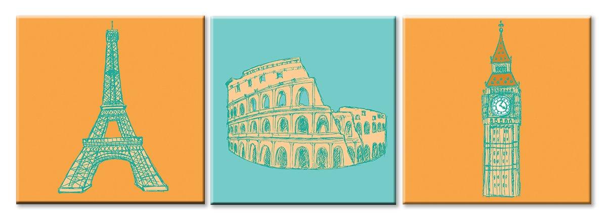 Модульная картина «Три города»Города<br>Модульная картина на натуральном холсте и деревянном подрамнике. Подвес в комплекте. Трехслойная надежная упаковка. Доставим в любую точку России. Вам осталось только повесить картину на стену!<br>