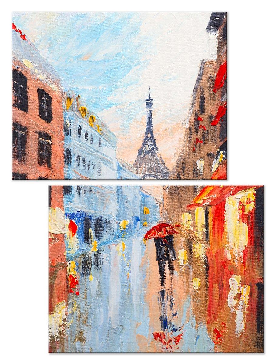Модульная картина «Романтика Парижа»Города<br>Модульная картина на натуральном холсте и деревянном подрамнике. Подвес в комплекте. Трехслойная надежная упаковка. Доставим в любую точку России. Вам осталось только повесить картину на стену!<br>