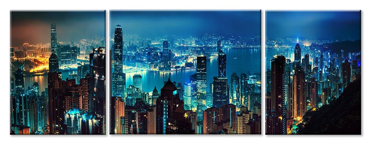 Модульная картина «Город. Ночь», 128x50 см, модульная картинаГорода<br>Модульная картина на натуральном холсте и деревянном подрамнике. Подвес в комплекте. Трехслойная надежная упаковка. Доставим в любую точку России. Вам осталось только повесить картину на стену!<br>