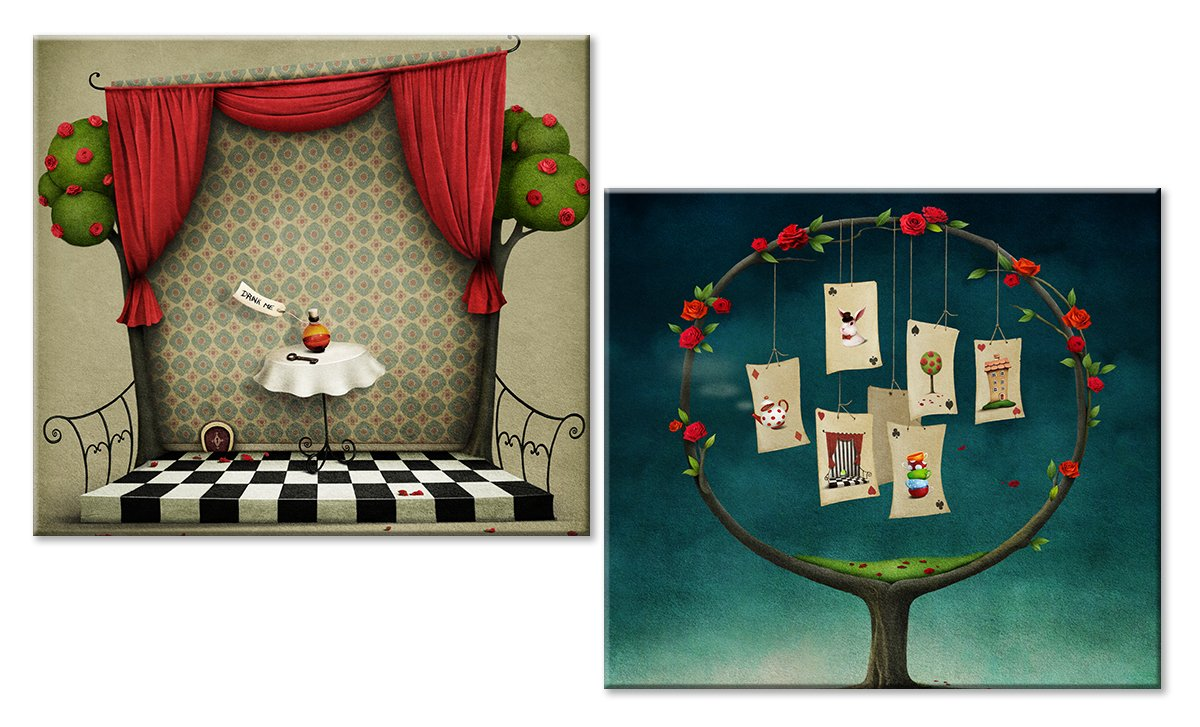 Модульная картина «По мотивам Алисы в стране чудес»Детские<br>Модульная картина на натуральном холсте и деревянном подрамнике. Подвес в комплекте. Трехслойная надежная упаковка. Доставим в любую точку России. Вам осталось только повесить картину на стену!<br>