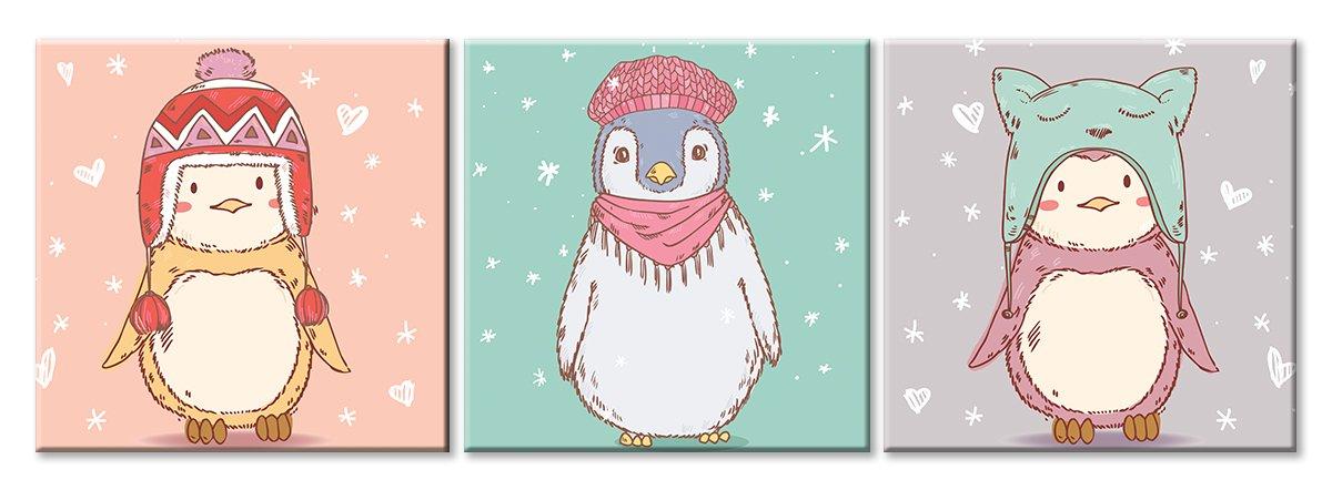 Модульная картина «Пингвины»Детские<br>Модульная картина на натуральном холсте и деревянном подрамнике. Подвес в комплекте. Трехслойная надежная упаковка. Доставим в любую точку России. Вам осталось только повесить картину на стену!<br>