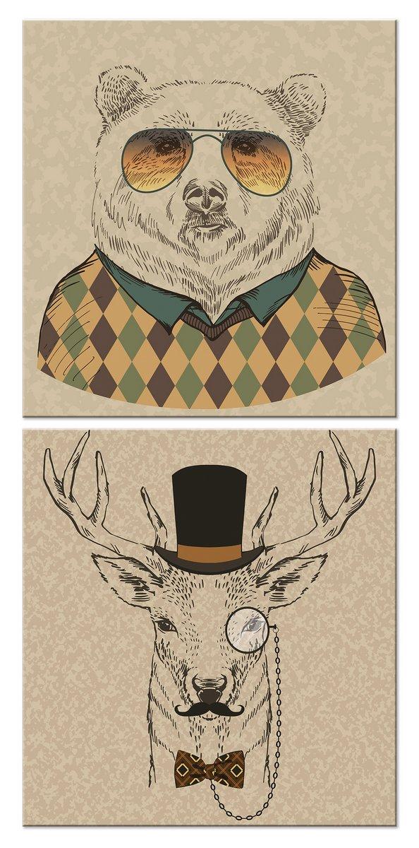 Модульная картина «Медведь и олень»Детские<br>Модульная картина на натуральном холсте и деревянном подрамнике. Подвес в комплекте. Трехслойная надежная упаковка. Доставим в любую точку России. Вам осталось только повесить картину на стену!<br>