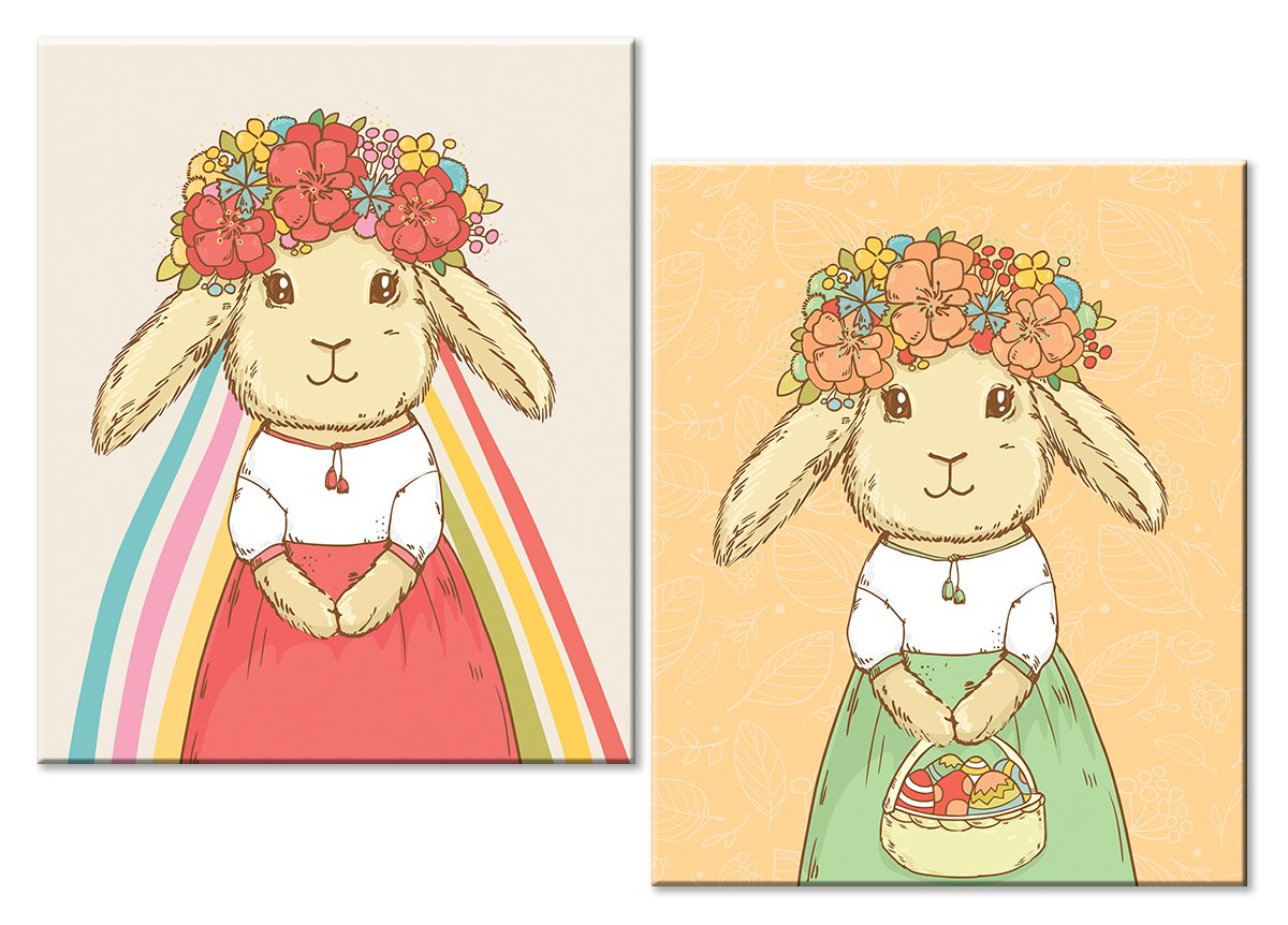 Модульная картина «Две зайчихи»Детские<br>Модульная картина на натуральном холсте и деревянном подрамнике. Подвес в комплекте. Трехслойная надежная упаковка. Доставим в любую точку России. Вам осталось только повесить картину на стену!<br>