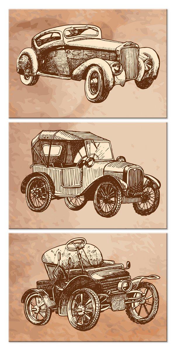 Модульная картина «Ретро автомобили»Детские<br>Модульная картина на натуральном холсте и деревянном подрамнике. Подвес в комплекте. Трехслойная надежная упаковка. Доставим в любую точку России. Вам осталось только повесить картину на стену!<br>
