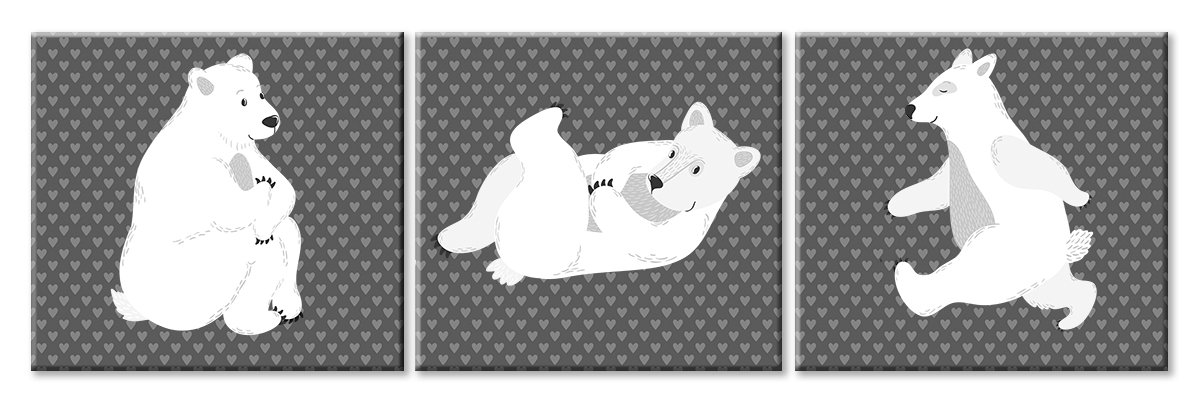 Модульная картина «Белые медведи»Детские<br>Модульная картина на натуральном холсте и деревянном подрамнике. Подвес в комплекте. Трехслойная надежная упаковка. Доставим в любую точку России. Вам осталось только повесить картину на стену!<br>