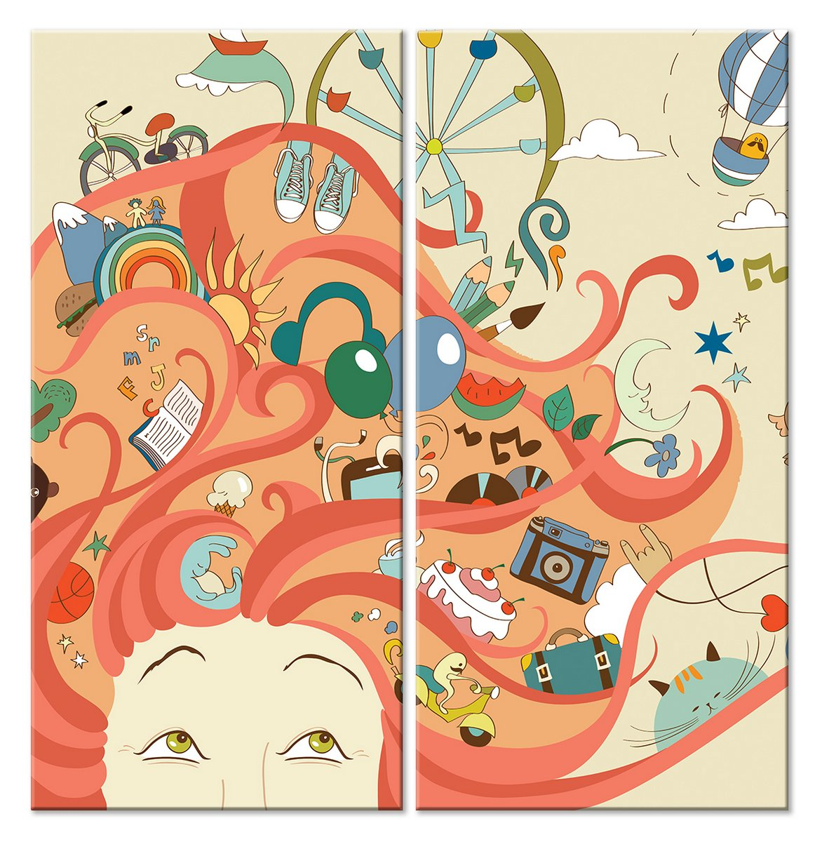 Модульная картина «В голове у подростка»Детские<br>Модульная картина на натуральном холсте и деревянном подрамнике. Подвес в комплекте. Трехслойная надежная упаковка. Доставим в любую точку России. Вам осталось только повесить картину на стену!<br>
