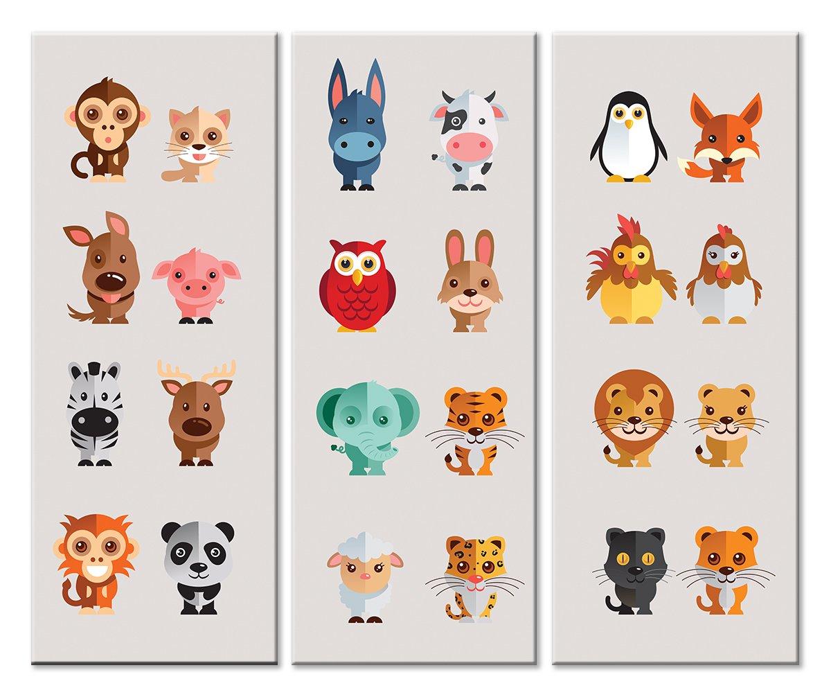 Модульная картина «Зоопарк»Детские<br>Модульная картина на натуральном холсте и деревянном подрамнике. Подвес в комплекте. Трехслойная надежная упаковка. Доставим в любую точку России. Вам осталось только повесить картину на стену!<br>