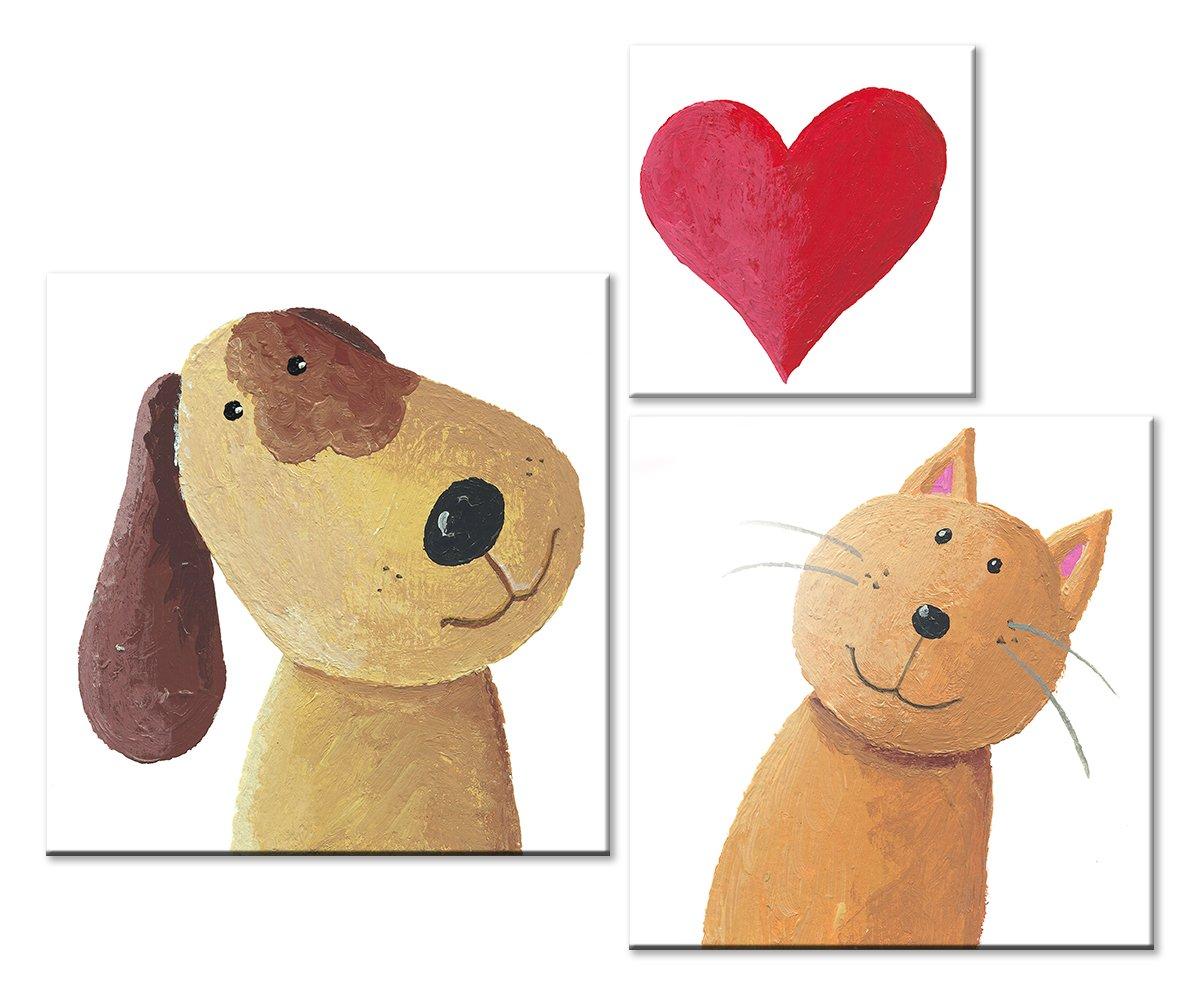 Модульная картина «Кот и пес»Детские<br>Модульная картина на натуральном холсте и деревянном подрамнике. Подвес в комплекте. Трехслойная надежная упаковка. Доставим в любую точку России. Вам осталось только повесить картину на стену!<br>