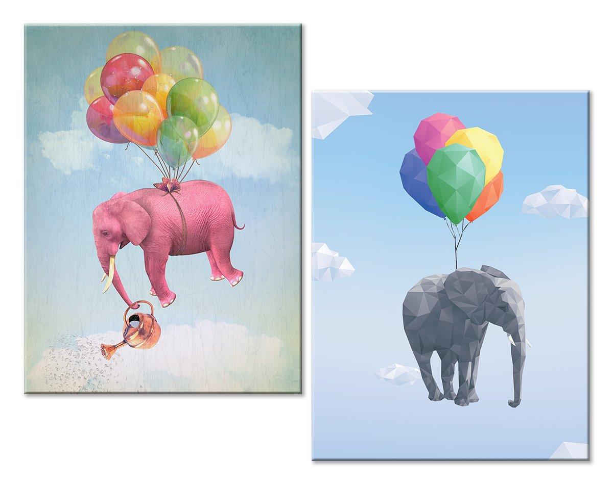 Модульная картина «Летающие слоны»Детские<br>Модульная картина на натуральном холсте и деревянном подрамнике. Подвес в комплекте. Трехслойная надежная упаковка. Доставим в любую точку России. Вам осталось только повесить картину на стену!<br>