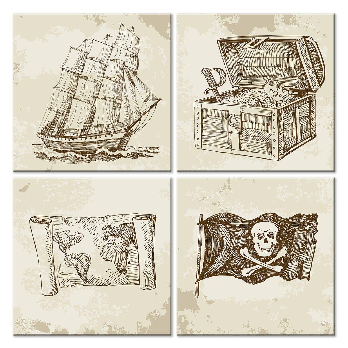 Модульная картина «Пираты»Детские<br>Модульная картина на натуральном холсте и деревянном подрамнике. Подвес в комплекте. Трехслойная надежная упаковка. Доставим в любую точку России. Вам осталось только повесить картину на стену!<br>