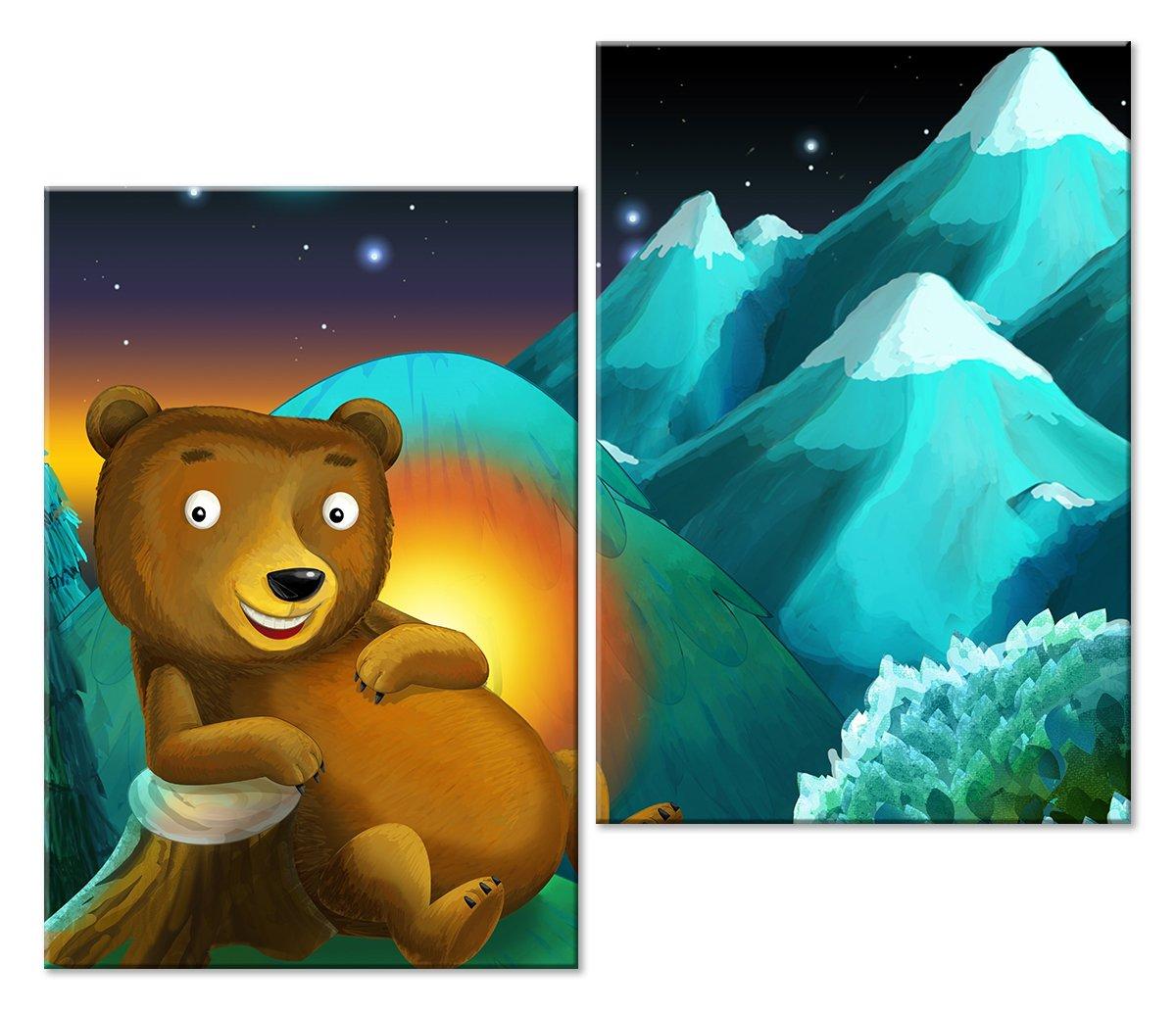 Модульная картина «Медведь»Детские<br>Модульная картина на натуральном холсте и деревянном подрамнике. Подвес в комплекте. Трехслойная надежная упаковка. Доставим в любую точку России. Вам осталось только повесить картину на стену!<br>
