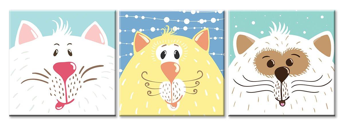 Модульная картина «Три кота»Детские<br>Модульная картина на натуральном холсте и деревянном подрамнике. Подвес в комплекте. Трехслойная надежная упаковка. Доставим в любую точку России. Вам осталось только повесить картину на стену!<br>