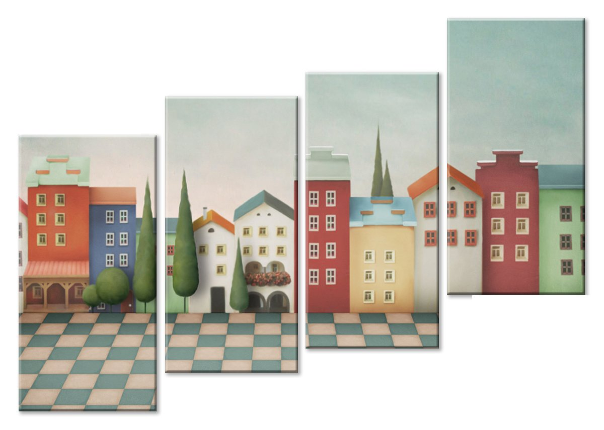 Модульная картина «Детские улицы»Детские<br>Модульная картина на натуральном холсте и деревянном подрамнике. Подвес в комплекте. Трехслойная надежная упаковка. Доставим в любую точку России. Вам осталось только повесить картину на стену!<br>