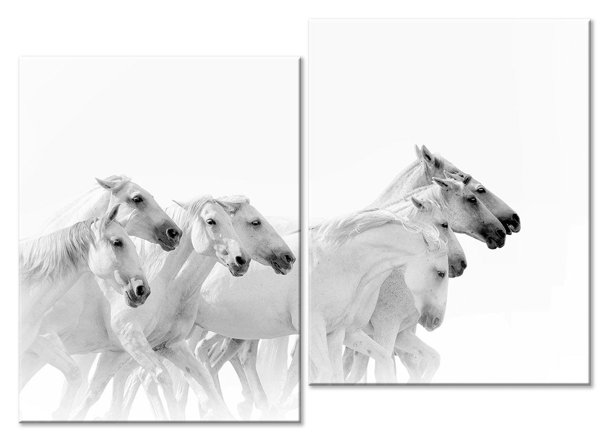 Модульная картина «Белый табун»Животные и птицы<br>Модульная картина на натуральном холсте и деревянном подрамнике. Подвес в комплекте. Трехслойная надежная упаковка. Доставим в любую точку России. Вам осталось только повесить картину на стену!<br>