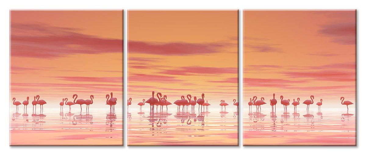 Модульная картина «Закат с фламинго», 117x50 см, модульная картинаЖивотные и птицы<br>Модульная картина на натуральном холсте и деревянном подрамнике. Подвес в комплекте. Трехслойная надежная упаковка. Доставим в любую точку России. Вам осталось только повесить картину на стену!<br>