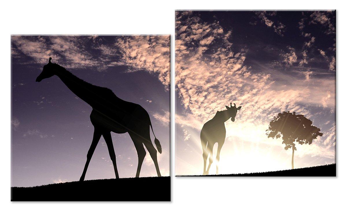 Модульная картина «Жирафы»Животные и птицы<br>Модульная картина на натуральном холсте и деревянном подрамнике. Подвес в комплекте. Трехслойная надежная упаковка. Доставим в любую точку России. Вам осталось только повесить картину на стену!<br>