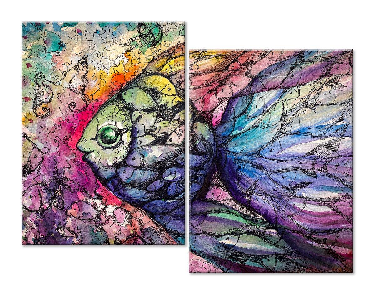 Модульная картина «Волшебная рыбка»Животные и птицы<br>Модульная картина на натуральном холсте и деревянном подрамнике. Подвес в комплекте. Трехслойная надежная упаковка. Доставим в любую точку России. Вам осталось только повесить картину на стену!<br>