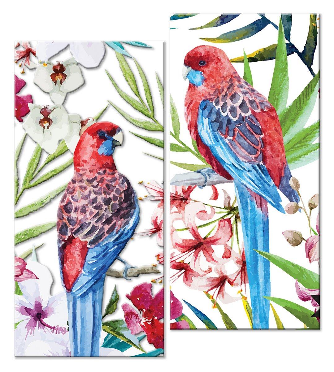 Модульная картина «Живописные попугаи»Животные и птицы<br>Модульная картина на натуральном холсте и деревянном подрамнике. Подвес в комплекте. Трехслойная надежная упаковка. Доставим в любую точку России. Вам осталось только повесить картину на стену!<br>