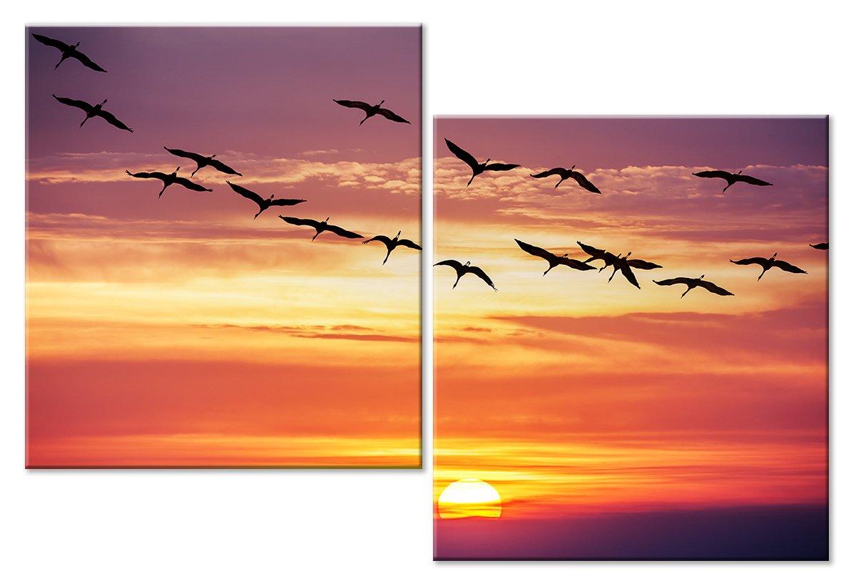 Модульная картина «Стая птиц на закате»Животные и птицы<br>Модульная картина на натуральном холсте и деревянном подрамнике. Подвес в комплекте. Трехслойная надежная упаковка. Доставим в любую точку России. Вам осталось только повесить картину на стену!<br>