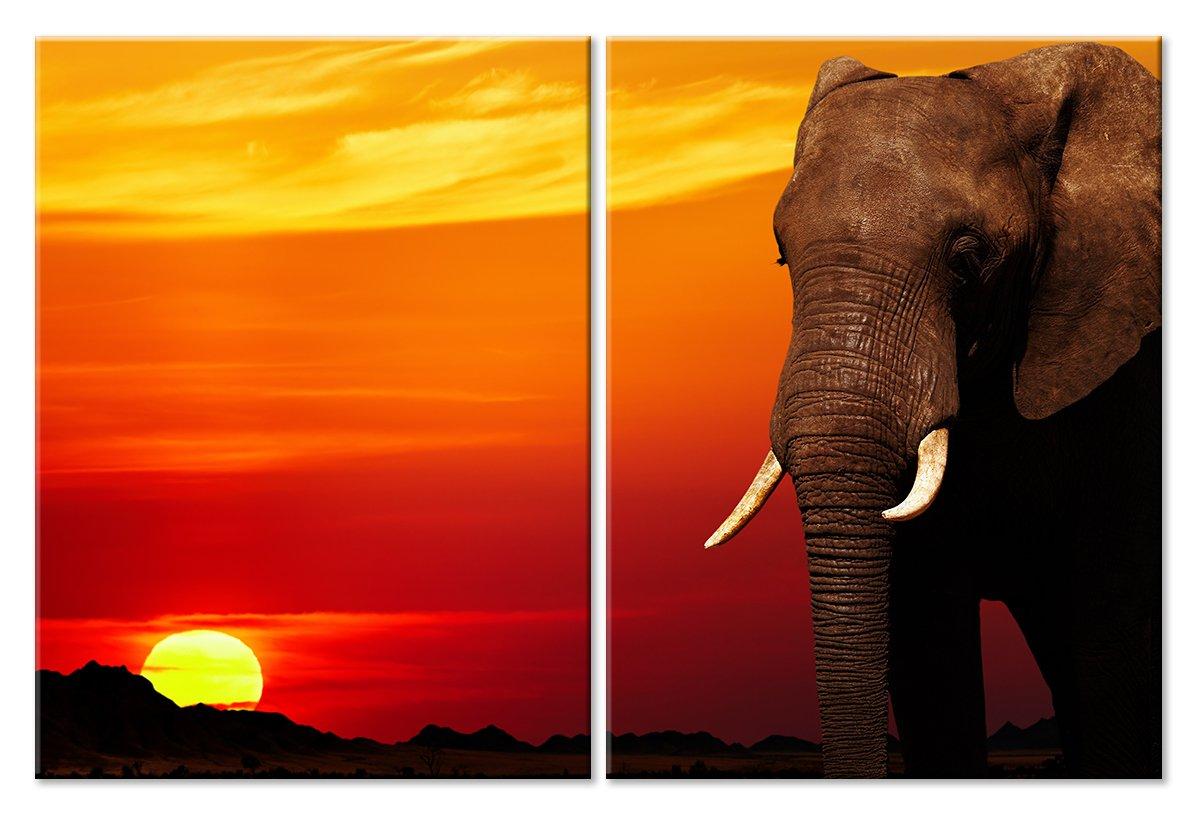 Модульная картина «Слон на фоне красного заката»Животные и птицы<br>Модульная картина на натуральном холсте и деревянном подрамнике. Подвес в комплекте. Трехслойная надежная упаковка. Доставим в любую точку России. Вам осталось только повесить картину на стену!<br>