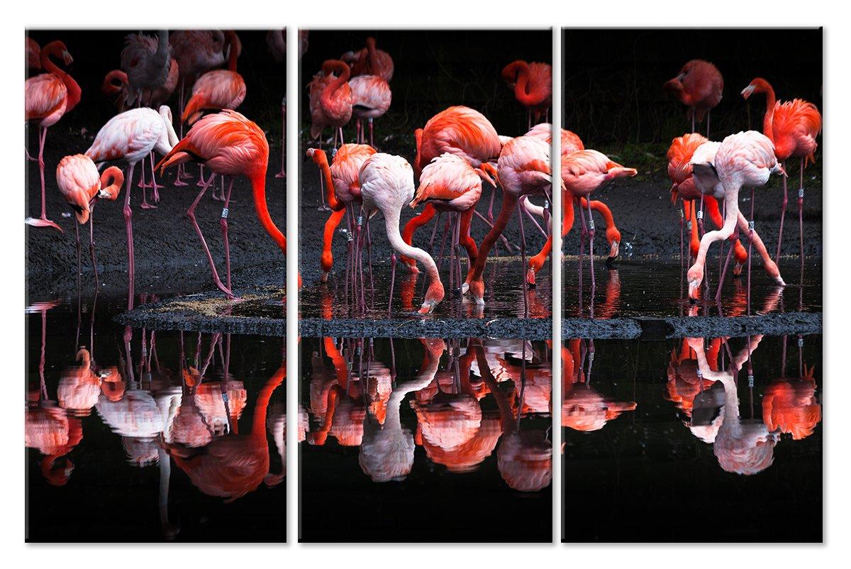 Модульная картина «Фламинго на водопое»Животные и птицы<br>Модульная картина на натуральном холсте и деревянном подрамнике. Подвес в комплекте. Трехслойная надежная упаковка. Доставим в любую точку России. Вам осталось только повесить картину на стену!<br>