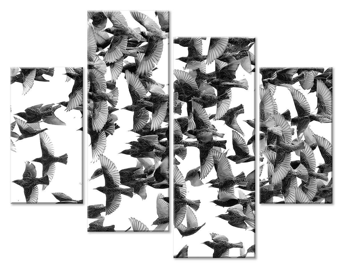 Модульная картина «Стая птиц», 64x50 см, модульная картинаЖивотные и птицы<br>Модульная картина на натуральном холсте и деревянном подрамнике. Подвес в комплекте. Трехслойная надежная упаковка. Доставим в любую точку России. Вам осталось только повесить картину на стену!<br>