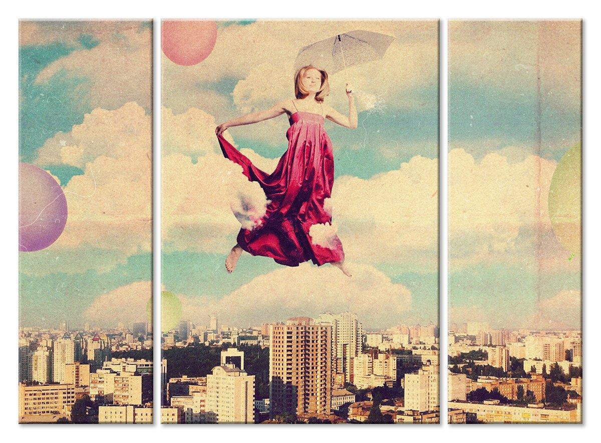 Модульная картина «Полет над городом»Люди<br>Модульная картина на натуральном холсте и деревянном подрамнике. Подвес в комплекте. Трехслойная надежная упаковка. Доставим в любую точку России. Вам осталось только повесить картину на стену!<br>